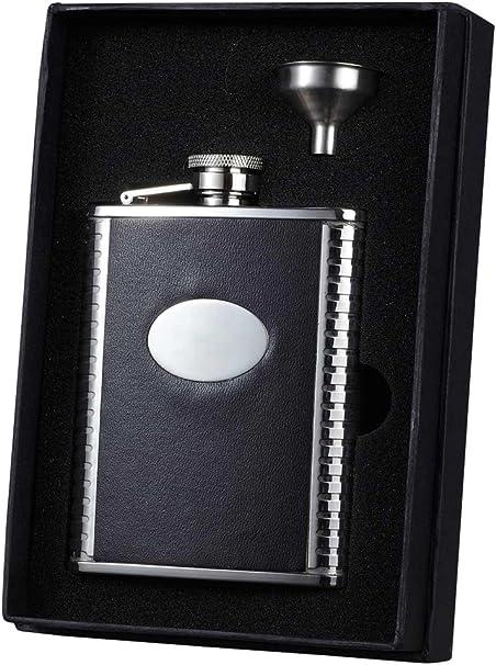 Amazon Com Visol Holiday Essential Tux Bonded Leather Liquor Flask Gift Set 6 Oz Silver Flasks