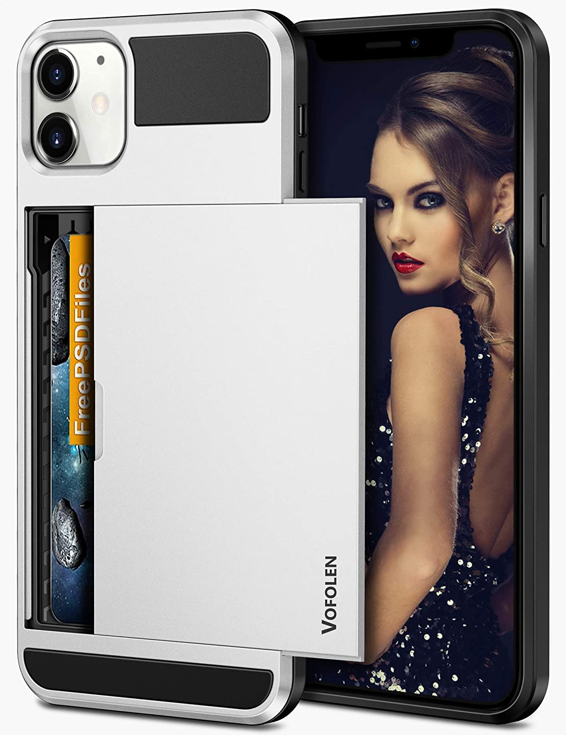 Vofolen Compatible with iPhone 12 Case 5G Wallet iPhone 12 Pro Cover Credit Card Holder Slot Sliding Back Pocket Anti-Scratch Dual Layer Protective Compatible with iPhone 12/ iPhone 12 Pro White