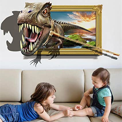 Amazon.com: YJYDADA Wall Stickers,3D Dinosaur Floor Wall ...