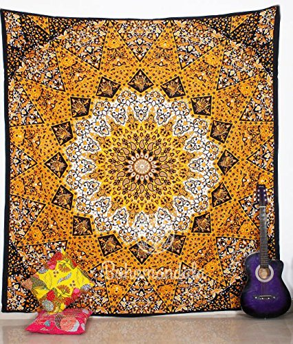 Indian Yellow Ombre Mandala Star Indian Traditional Boho Large Meditation Art Cotton 100% Handmade Crafted Vintage Mandala Bohemian Tapesty Wall Hanging Art Decorative Beach Sheet Throw Bedding Dorm