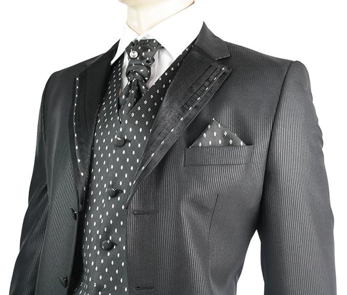 Hombre Traje De Boda 4 Piezas de Slim Fit Diseño Negro con Plata ...