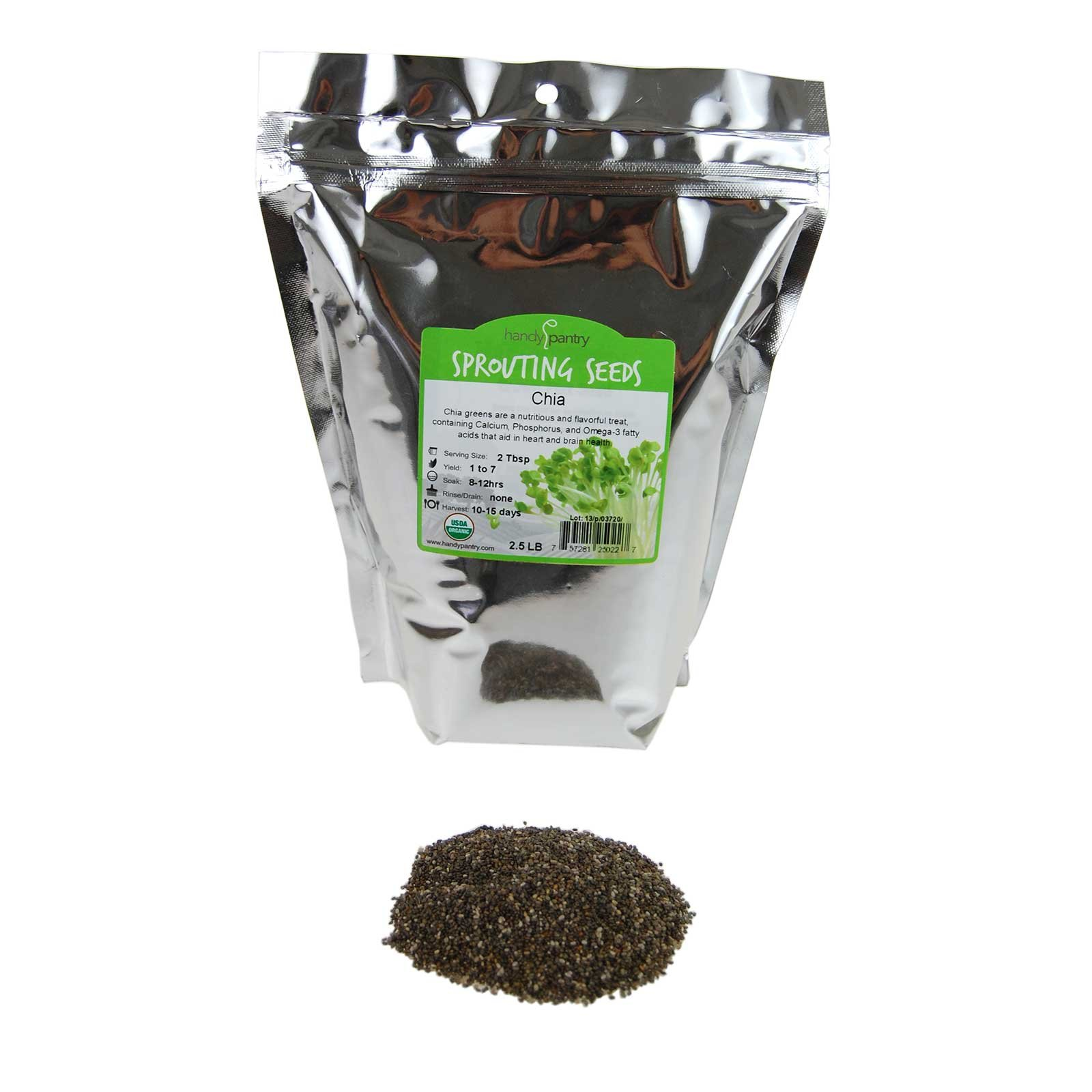 Organic Chia Seeds - 2.5 Lbs - Black Chia Sprouting Seeds For Growing Sprouts, Microgreens Chia Pet Refills, Food Storage, Sprout Salad