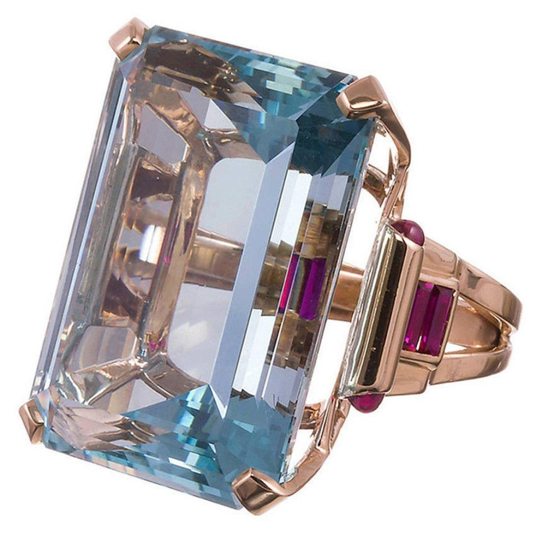 Rose Gold Octagon Cut Created Aquamarine Ring Ruby Diamond Wedding Ring Engagement Charming Jewelry Accessories Gifts Clearance for Women Lovers Couples - Size 6/7/8/9/10 (7) Buyeverything