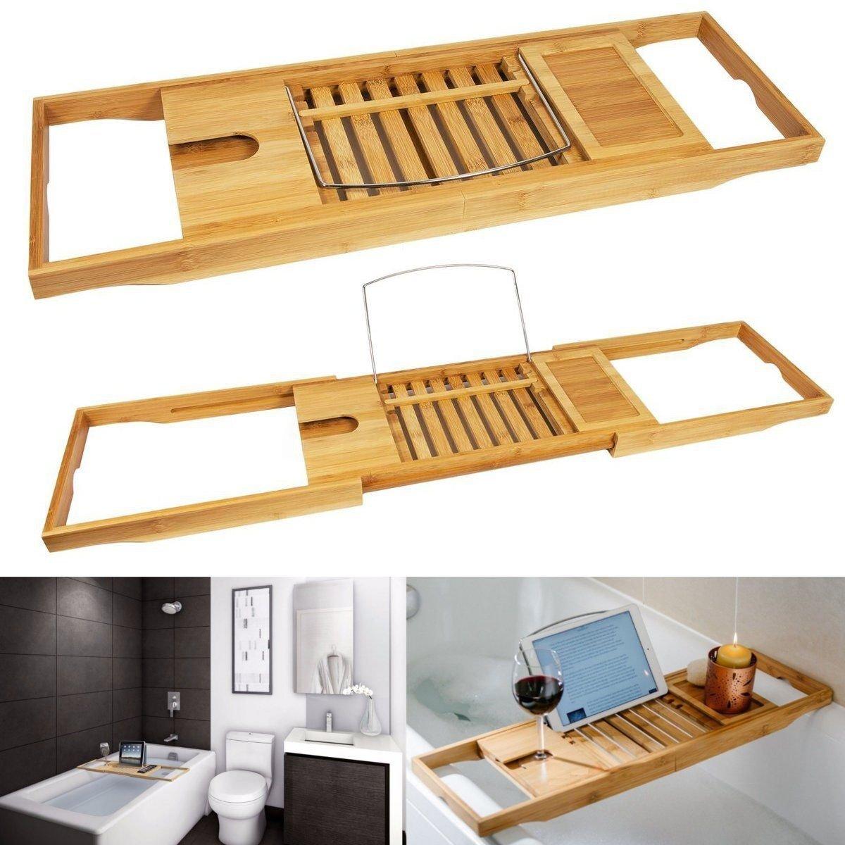 Amazon.com: Bamboo Bathtub Rack Shelf Caddy Tray Wine Holder Book ...