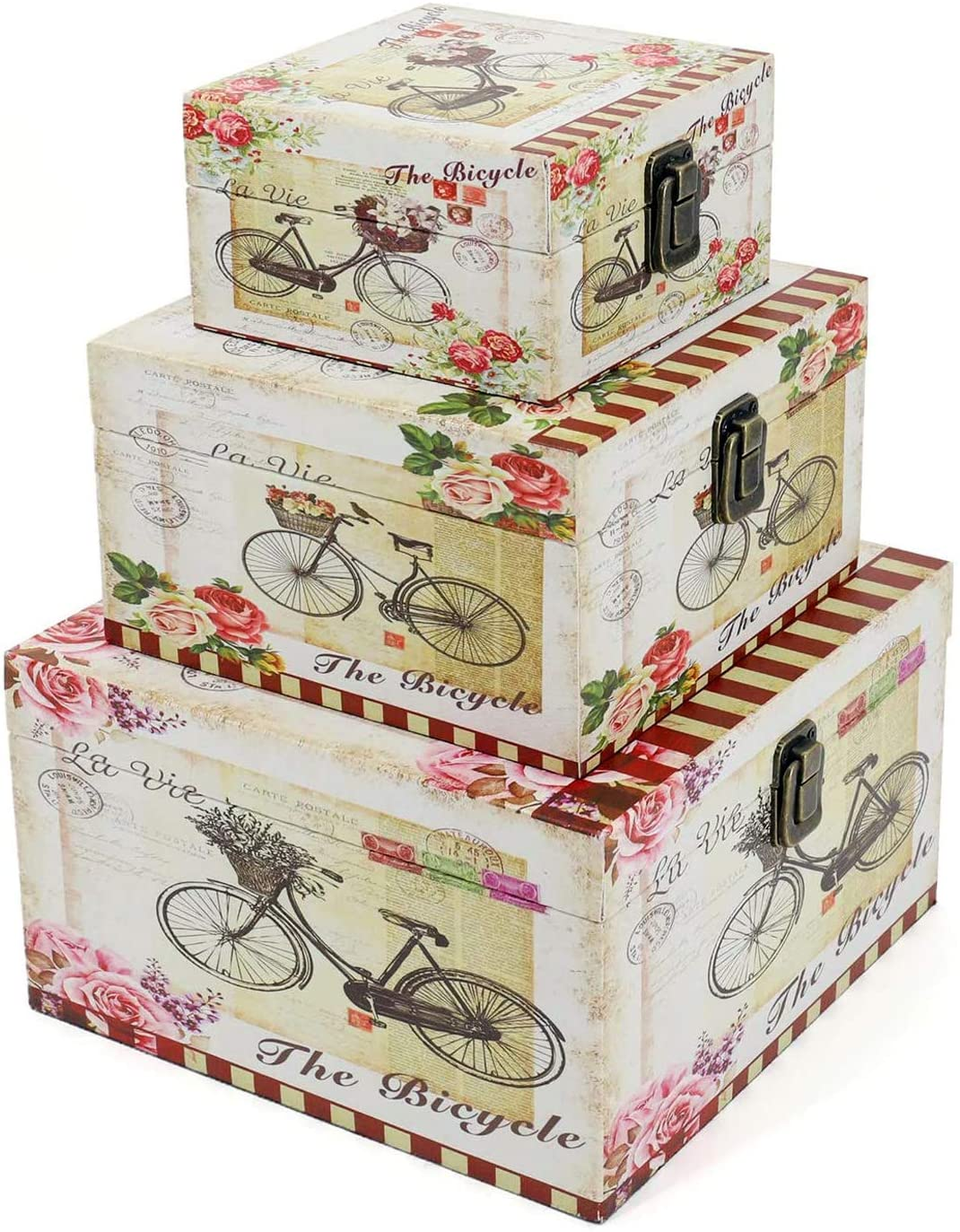 Jolitac Wood Storage Box Set of 3, Vintage Decorative Nesting Boxes Wooden Treasure Storage Crates With Latch Rustic Antique Box Set, Home Decor Boxes With Lid for Keep Photos, Jewelry, Cash (Bike)