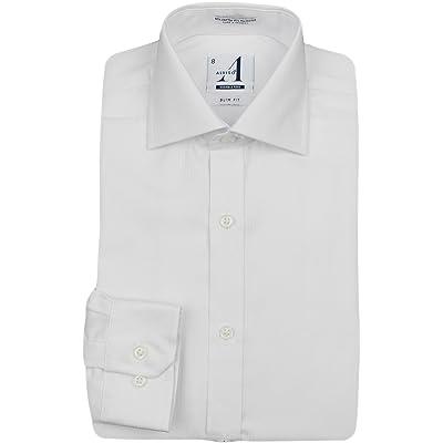 Alviso Boys White Textured Long Sleeve SLIM FIT Dress Shirt