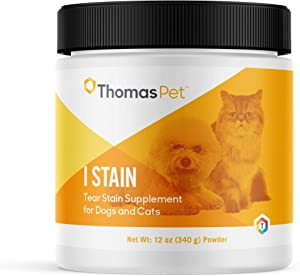 Thomas Pet I Stain - Tear Stain Remover for Dogs & Cats - Combats Red Yeast Eye Stains - (12 Ounces, Powder)