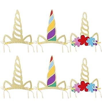 PRETYZOOM 12 PCS Unicorn Horn Hats Glitter Artículos de Fiesta para cumpleaños Baby Shower
