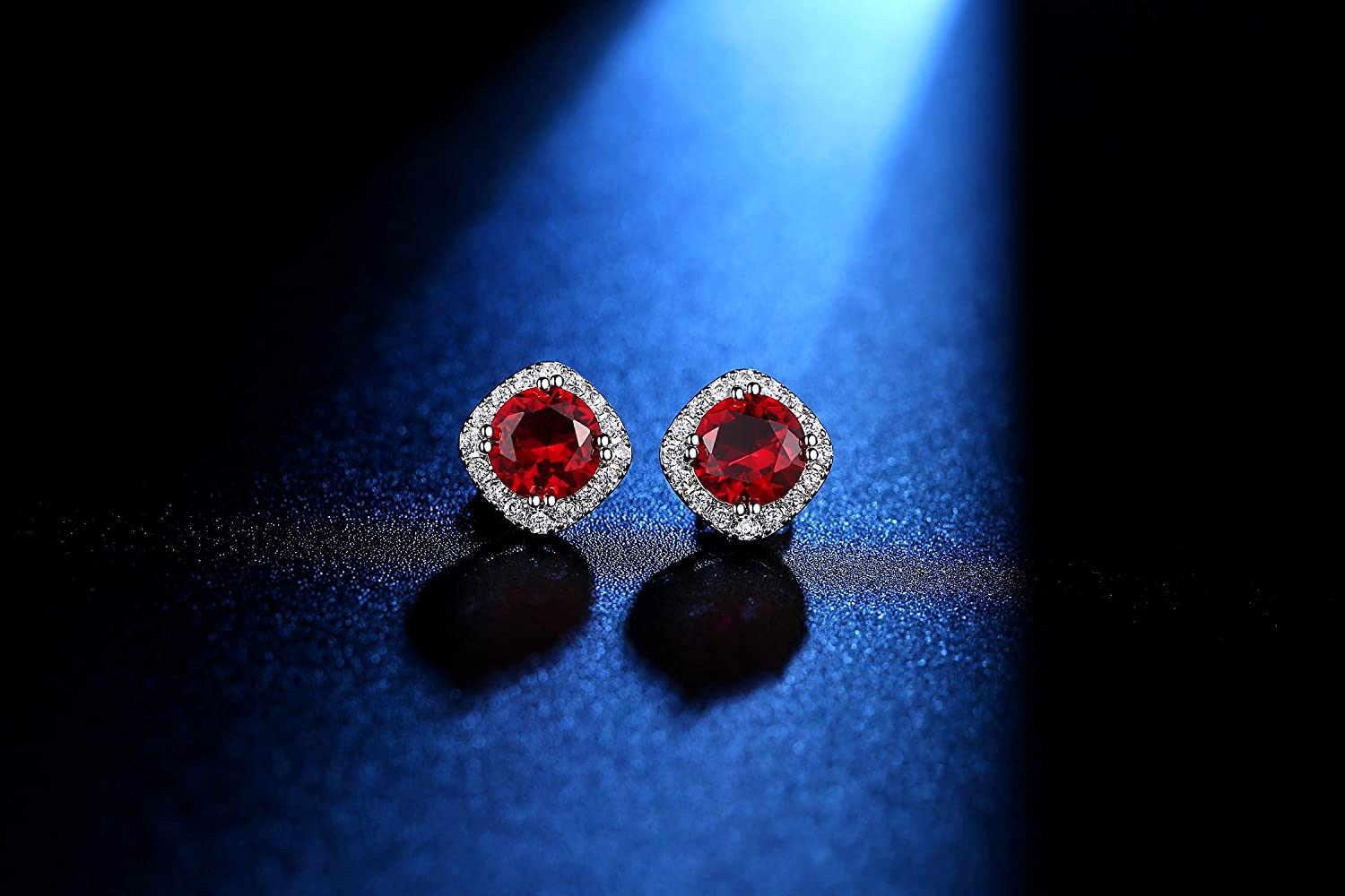 5045787cc Stud Earrings White Gold Plated with Red Cubic Zirconia For Engagement  Wedding Bridal Women & Girl Jewelry Fashionable Gift Idea For Her:  Amazon.co.uk: ...