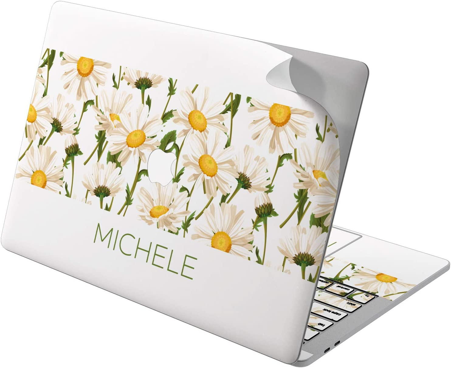 "Cavka Vinyl Decal Skin for Apple MacBook Pro 13"" 2019 15"" 2018 Air 13"" 2020 Retina 2015 Mac 11"" Mac 12"" Flowers Daisy Cute Personalized Field Sticker Name Cover Protective Design Custom Laptop Print"