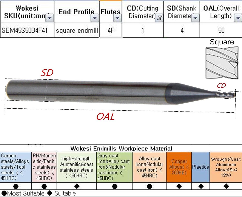 STD Longueur 1//1,5//2 en carbure de tungst/ène routeur CNC embouts de fraisage outils de coupe 4flutes hrc45 wokesi 1/1,5/2/3/4/6/mm coupe Dia Lot de 6 rev/êtement TiALN Moulin /à nez fin Carr/é