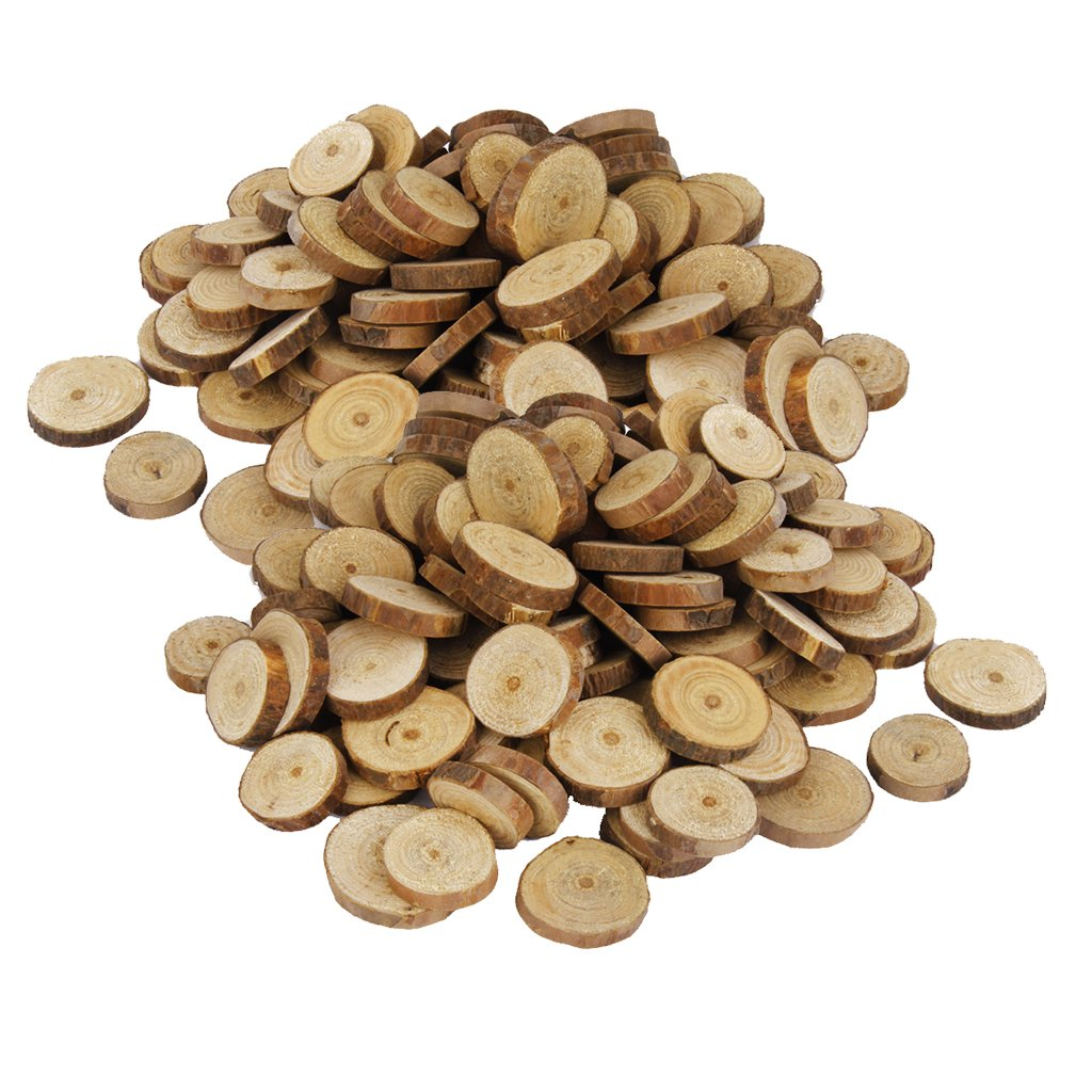 Fityle 200 Pieces Rustic Pine Wood Tree Slices Disc Pieces for Craft Wedding Table Decoration