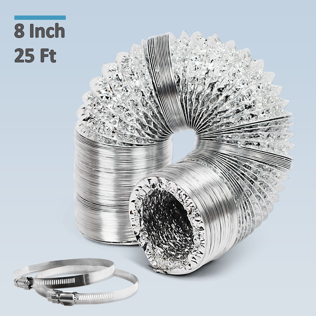 GROWNEER 8 Inch 25 Ft Aluminum Air Ducting with 2 Stainless Steel Clamps, Non-Insulated Flexible Air Duct Hose for HVAC Ventilation