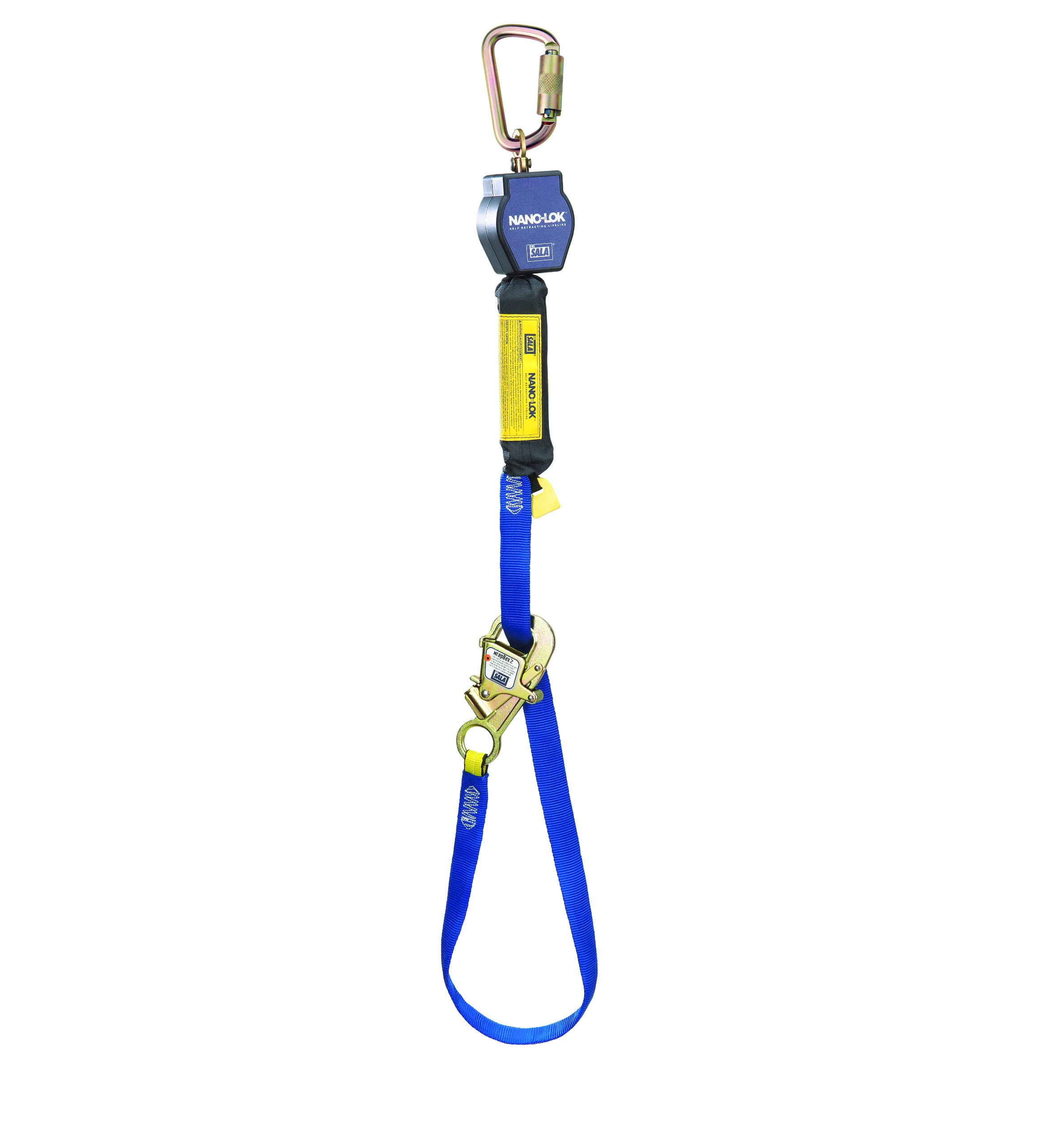 3M DBI-SALA Nano-Lok 3101367 Tie Back Self Retracting Lifeline, 9', 3/4'' Dynema Polyester Web, Tie-Back Hook, Swiveling Anchor Loop with Steel Carabiner, Blue by 3M Personal Protective Equipment
