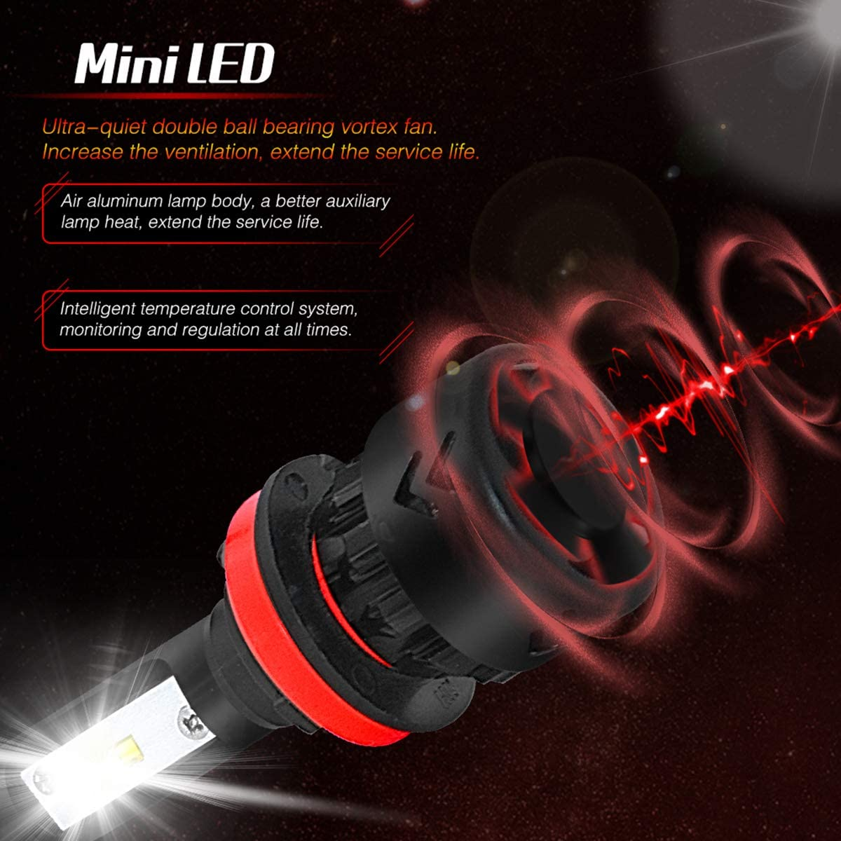 9600lm Cool Light-2 Year Warranty SMX H11 H8 H9 LED Headlight Bulbs 6000K Adjustable Beam Upgraded All-in-one Conversion Kit
