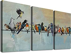 Birds on a Wire Wall Art Modern Painting Watercolor Picture Set of 3 Classic Canvas Prints Rustic Animal Walls Decor Framed Artworks for Home Office Kid's Room Living Room Decorations 12x16 Inches