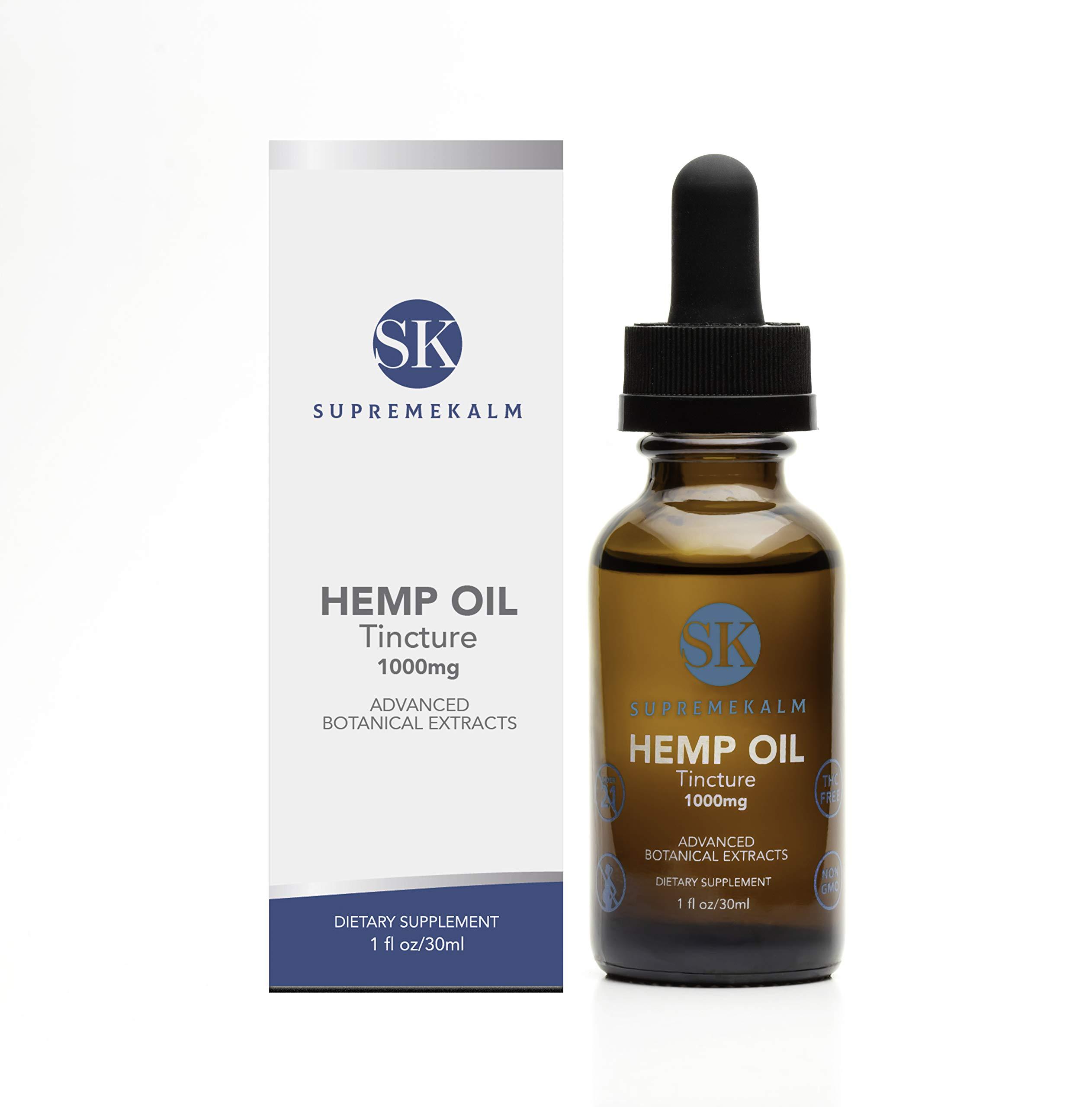 SupremeKalm Hemp Oil Tincture Bottle 1000mg - 99.6% Hemp Isolate - Advanced Botanical Extracts - 100% THC & CBD Free - 1 fl oz (30 ml)