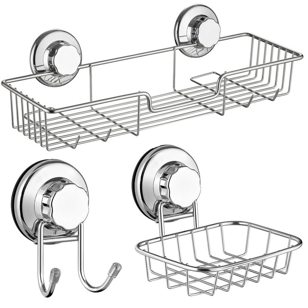 SANNO Bath Shower Caddy/Soap Dish/Double Bath Hook-Bath Organizer Kitchen Storage Basket for Shampoo, Conditioner, Soap- Anti Rust stainless steel (set of 3)
