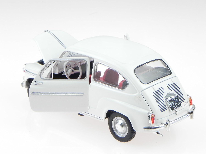 Fiat 600D 1960 Weiss Mit Sockel und Vitrine 1//24 Modellcarsonline Modell Auto ..