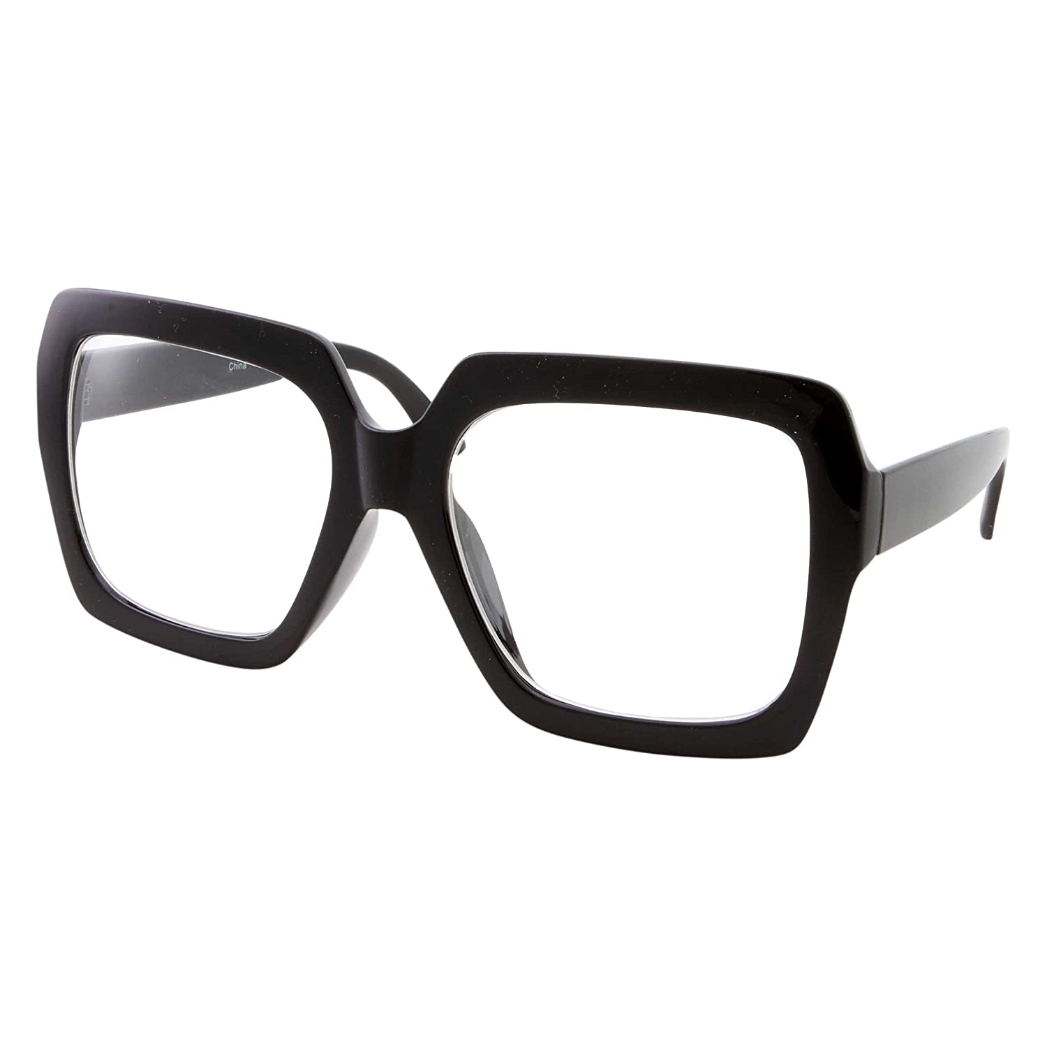 bcf040ad3651 Amazon.com: XL Black Thick Square Oversized Clear Lens Glasses - Men and  Women Costume or Fashion (Black): Clothing