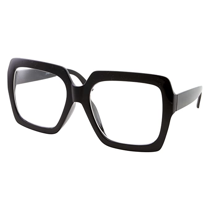 6ee83ad043 XL Black Thick Square Oversized Clear Lens Glasses - Men and Women Costume  or Fashion (