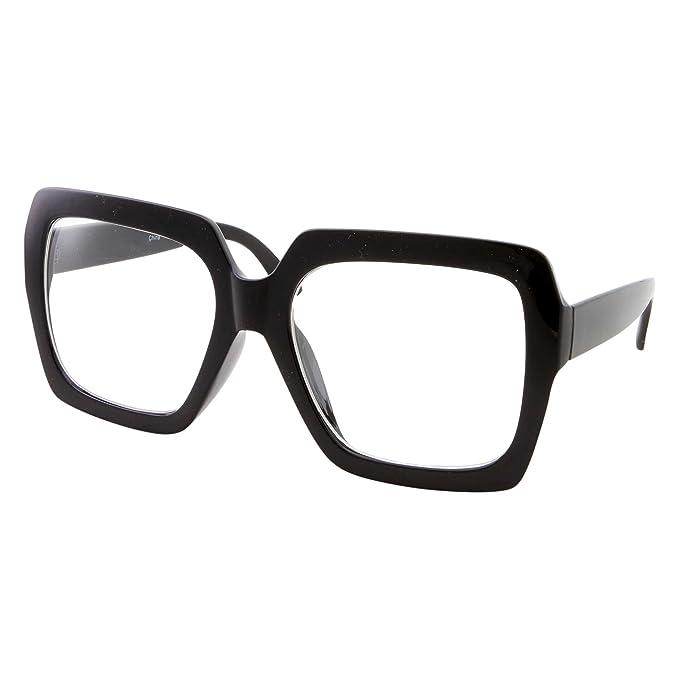 327e56d1e8 XL Black Thick Square Oversized Clear Lens Glasses - Men and Women Costume  or Fashion (