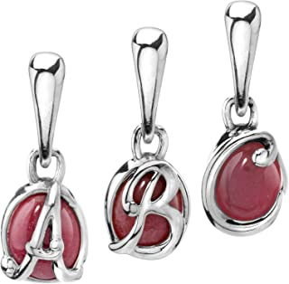 product image for Carolyn Pollack Sterling Silver Pink Rhodonite or Gray Mother of Pearl Love Letter Initial Charms