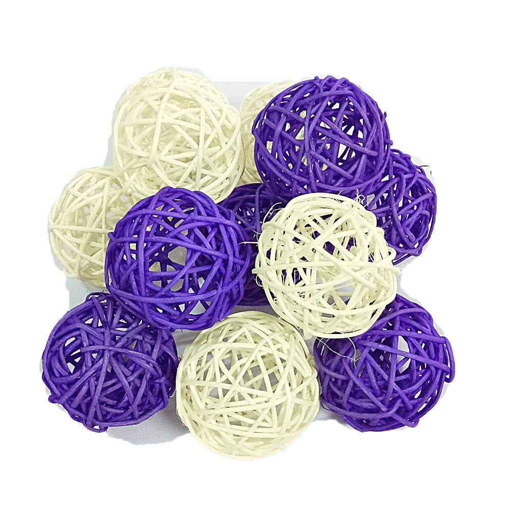 Christmas Gift : Natural Small Wicker Balls With Two Tone Color Purple And White For DIY Vase And Bowl Filler Ornament, Decorative Spheres Balls Perfect For Decoration And Party 2-2.5 inch 12 Pcs