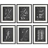 Idiopix Golf Patent Wall Decor Chalkboard Art Print Set of 6 Prints UNFRAMED