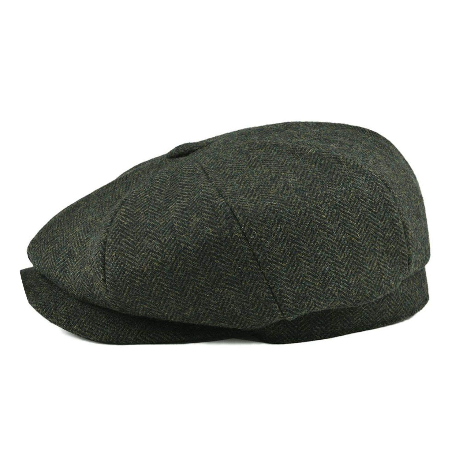 Wool Tweed sboy Cap Men Classic Retro Hat with Soft Lining Driver Cap Black Brown Green 005,Green,62-63cm