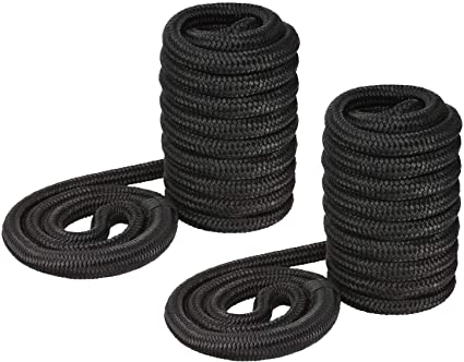 """2 White /& Gold Double Braided 3//8/"""" in x 15/' ft HD Boat Marine Dock Line Ropes"""