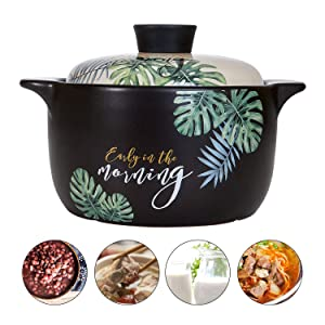 AHUA Ceramic Nonstick Stockpot, Stovetop Ceramic Cookware, Soup Pot Stew Pan Casserole Clay Pot Earthen Pot Healthy Stew Pot, Green Leaf Pattern Ceramic Round Black Dish with White Lid Heat-Resistant