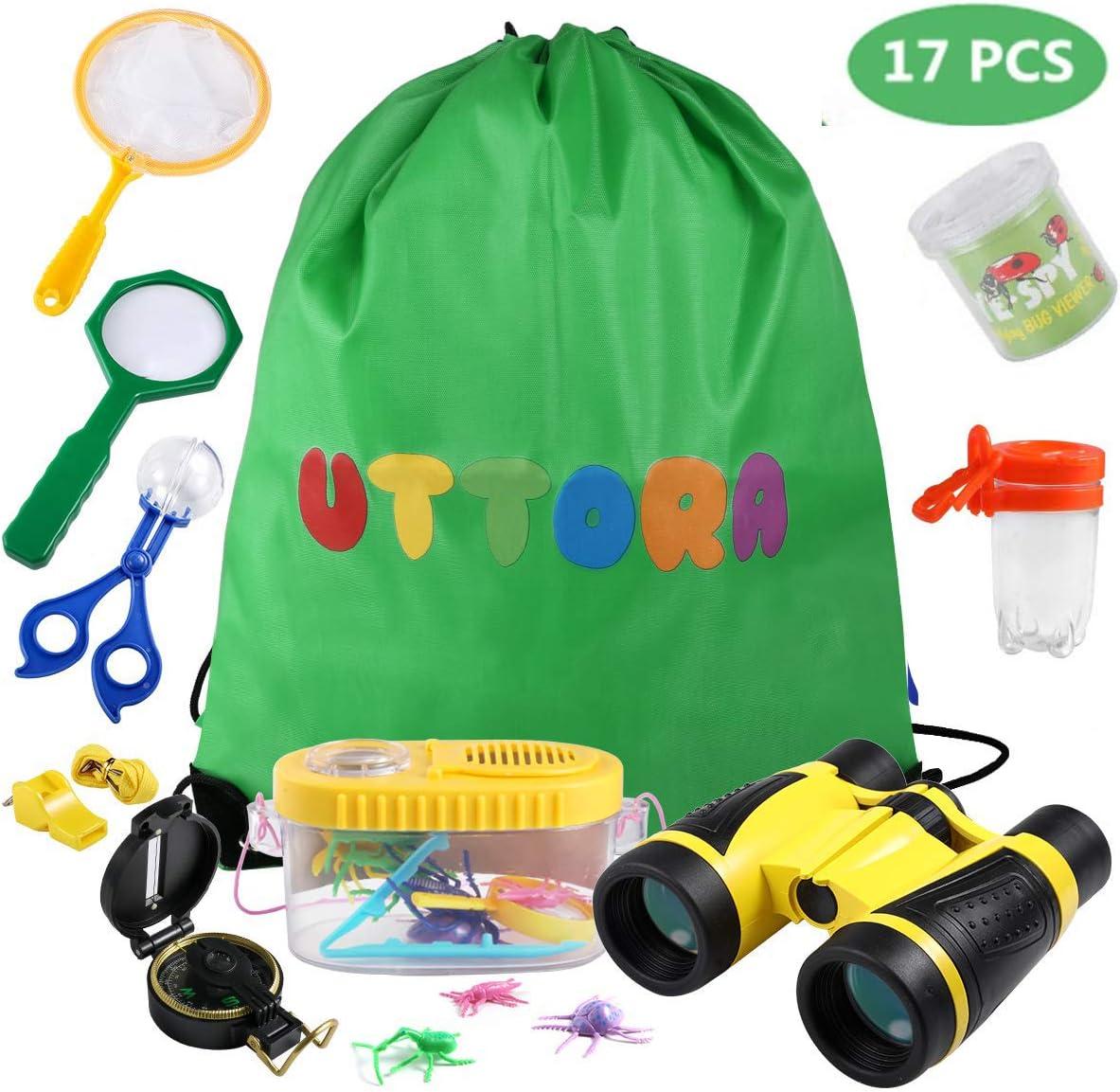 UTTORA Prismaticos niños,Kit de Binoculares para Niños ,Regalos para niños,Kit Explorador niños,Juguetes niños 3-12 de Aventura al Aire Libre Juguetes educativos(17Piezas)