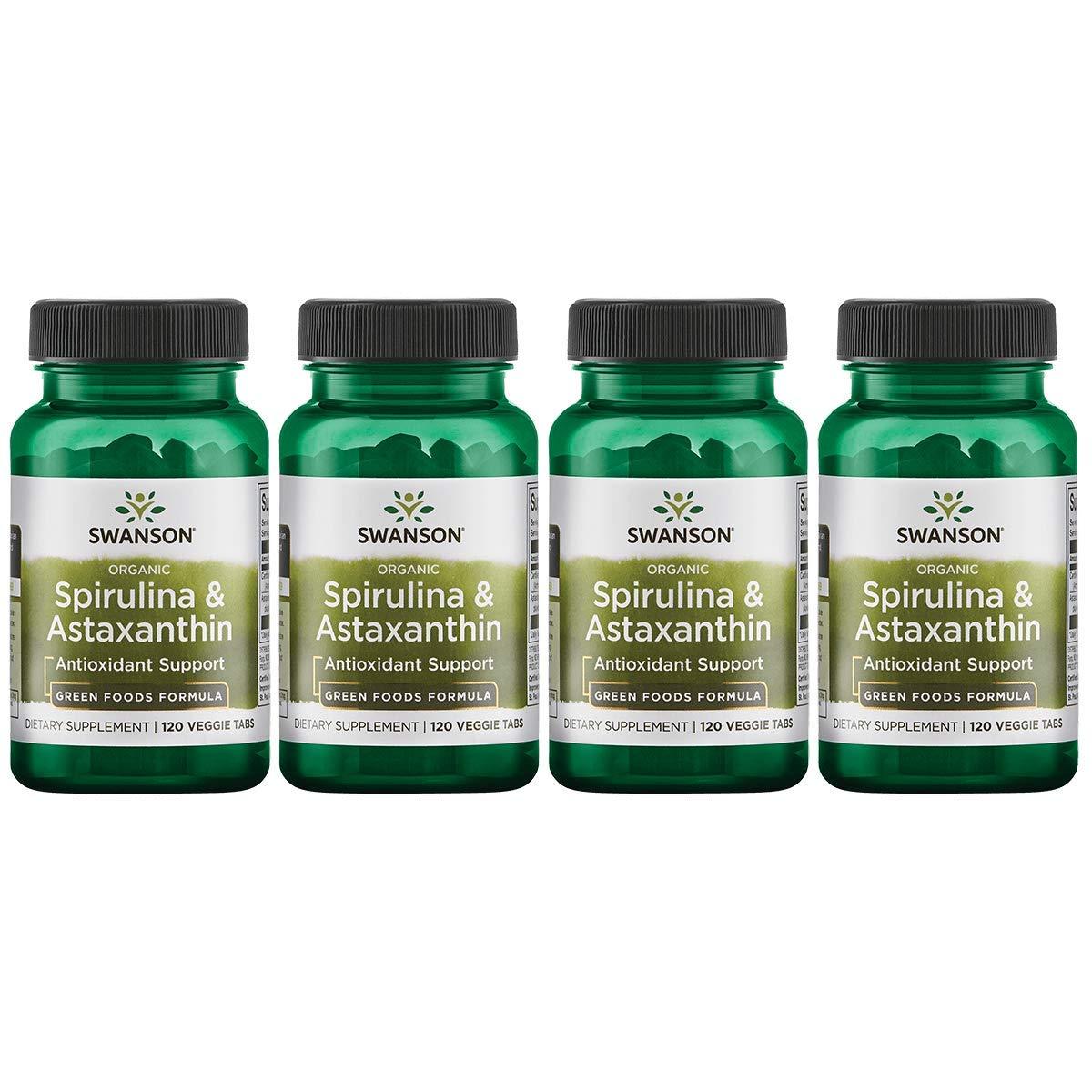 Swanson Organic Spirulina Astaxanthin 120 Veg Tabs 4 Pack