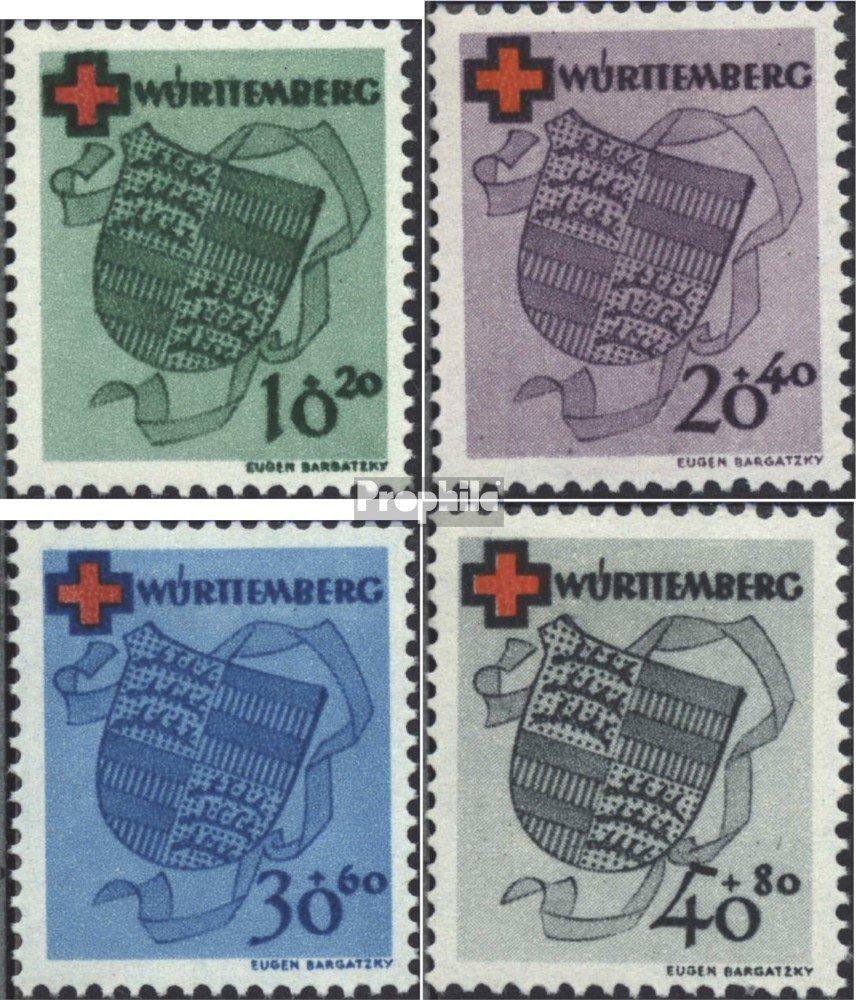 Prophila Collection Franz. Franz. Franz. Zone-Württemberg 40A-43A (kompl.Ausg.) geprüft 1949 Rotes Kreuz (Briefmarken für Sammler) Rotes Kreuz 94c145