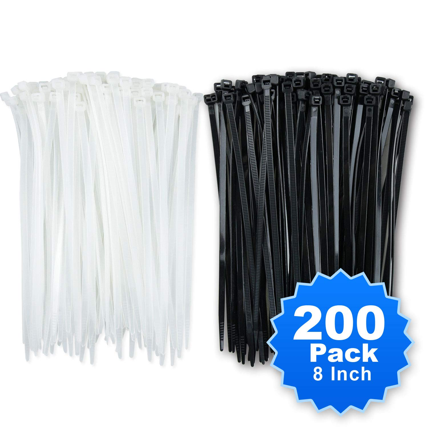 Simple Deluxe 200-Pack 8 Inch Self-Locking Versatile Nylon Cable Wire Zip Ties in Black /& White HICBLETIE8
