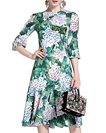 Aofur Womens Summer Floral Evening Party Cocktail Swing Midi Elegant Dresses Hawaii Tropical Style (XXX