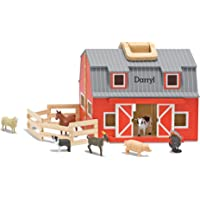 Melissa & Doug Personalized Fold and Go Wooden Barn with 7 Animal Play Figures