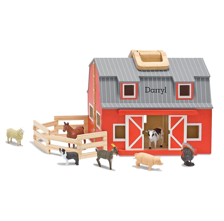 Melissa & Doug Fold and Go Wooden Barn With 7 Animal Play Figures 3700