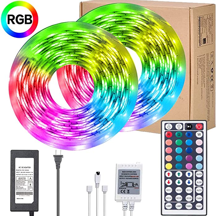 UMICKOO LED Strip Lights Kit,Waterproof 32.8ft RGB SMD 5050 LED Rope Lighting Color Changing Full Kit with 44-Keys IR Remote Controller, Power Supply Led Lights for Bedroom Home Kitchen Decoration