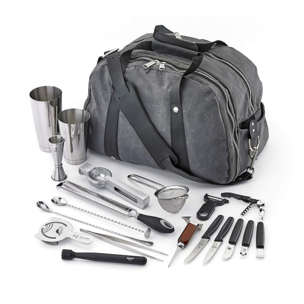 Mercer M37103 Barfly Deluxe II Set, 18 Piece Bar Accessory Package in Stainless Steel