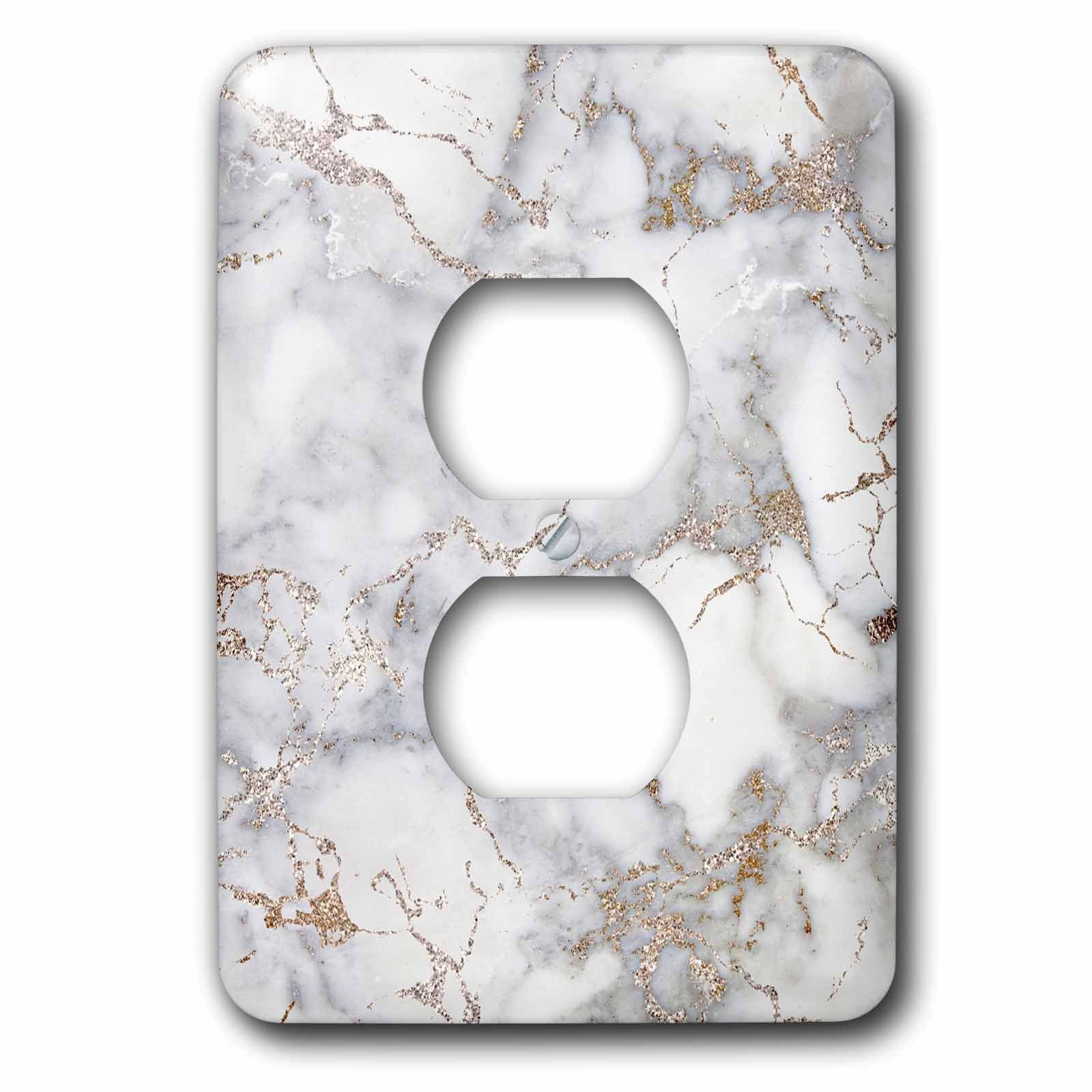 3dRose Uta Naumann Faux Glitter Pattern - Image of Luxury Shiny Trendy Rose gold Glitter Marble Agate Quartz - Light Switch Covers - 2 plug outlet cover (lsp_275084_6)