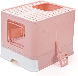Suhaco Top Entry Cat Litter Box with Lid Foldable Large Kitty Litter Boxes Cats Toilet Including Pet Plastic Scoop