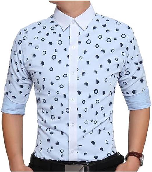 Zimaes-Men Plus-Size Basic Style Dress Shirt Button Floral Blouse Shirts