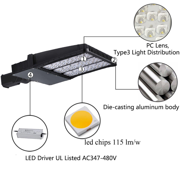 1000led Led Shoebox Pole Light 300w Ac347v 480v 5000k 33 Lighting Wiring Diagram 600lm 1000w Eq Waterproof Ip65 Street Parking Lot Area Amazon