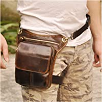 Le'aokuu Mens Genuine Leather Multi-Purpose Racing Drop Leg Bag Motorcycle Outdoor Bike Cycling Waist Bag