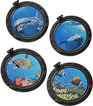 Tropischer Fisch Bullauge Wandaufkleber 3D Meer Ozean Wandtattoo Kinder