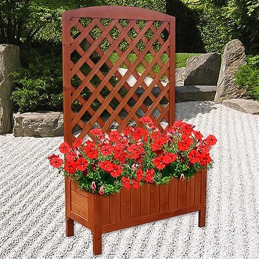 Jardinera de madera, macetero para flores, ayuda para enredaderas: Amazon.es: Jardín