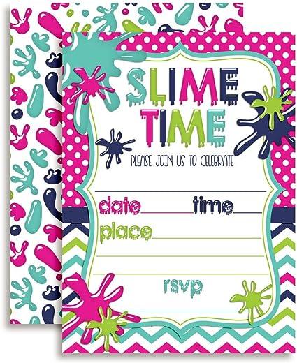 Amazon.com: Slime Fiesta de cumpleaños Invitaciones para las ...