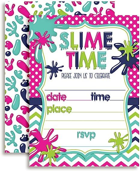 Amazon Com Slime Fiesta De Cumpleaños Invitaciones Para Las